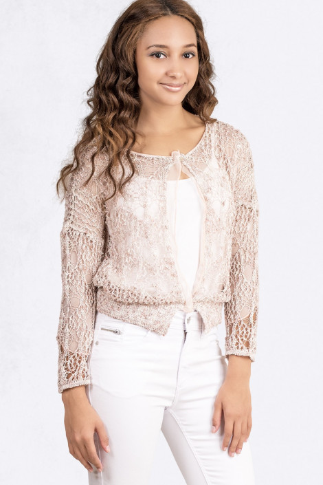 Delicate & Romantic Short Jumper in Quartz Beige