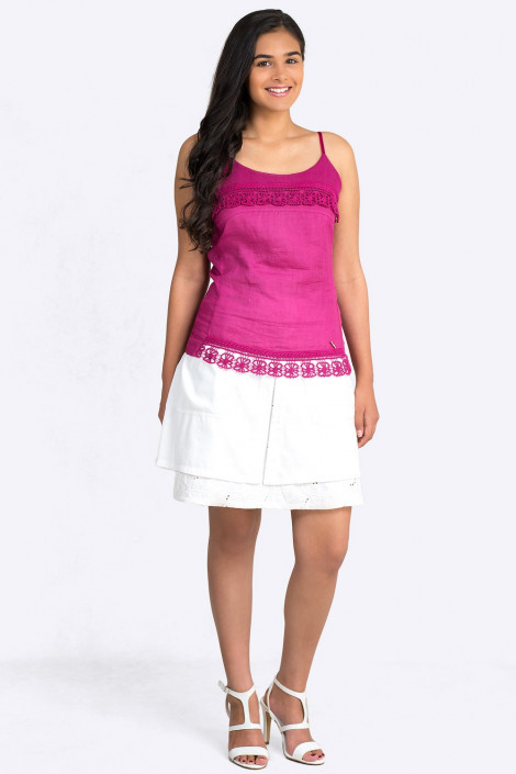 Two Layer Cotton Skirt with Leather Look Belt