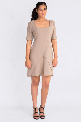 Square Neckline Dress With Mock Wrap Skirt In Brown