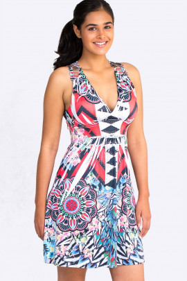 Ornamental Print Sundress with Lace Back