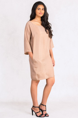 Siste's Cupro Tunic Dress with Asymmetric Pocket in Brown
