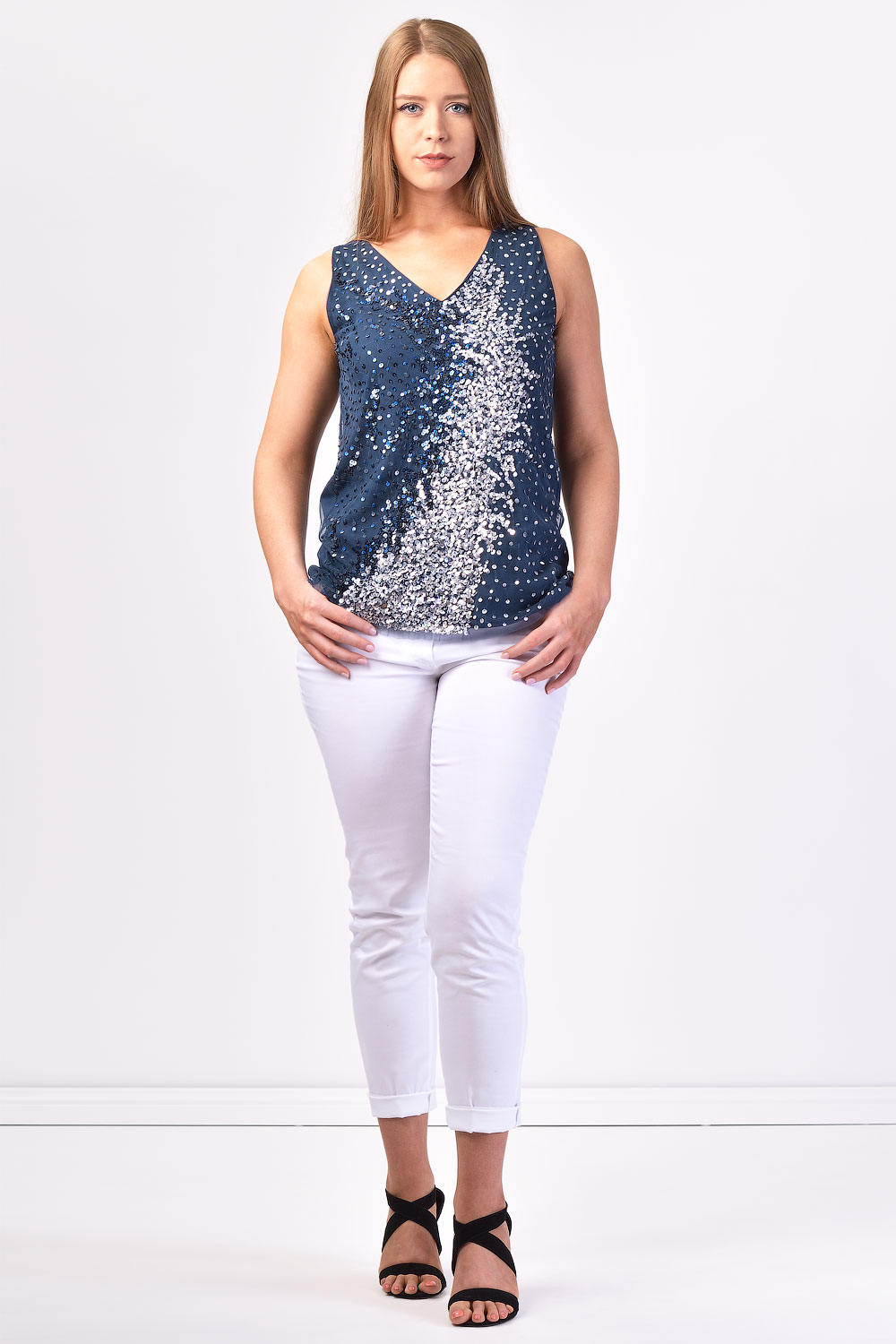 f3a5a934c95 Details about NWT  195 ITALIAN DESIGNER SEQUIN WOMEN TOP Plus Size M 12 L  14 Gorgeous!