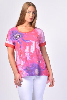 Effortless Style Silk T-Shirt Rhinestone Embellished