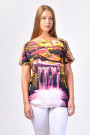 Glowing Waterfall Printed T-Shirt with Silk Sleeves