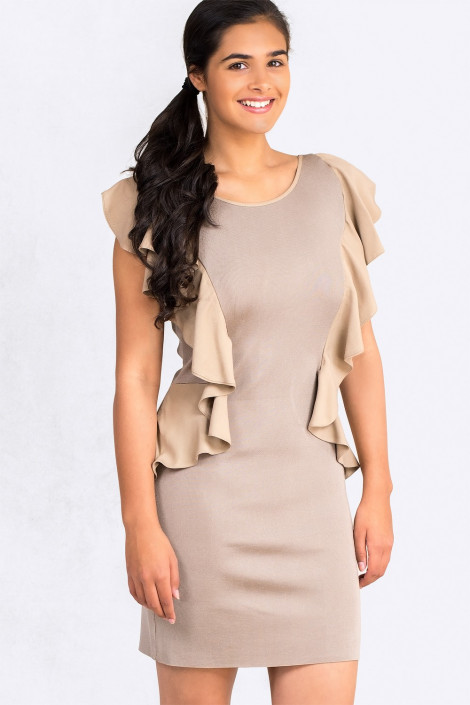 From Office To Outing Bodycon Dress With Frills In Cappuccino