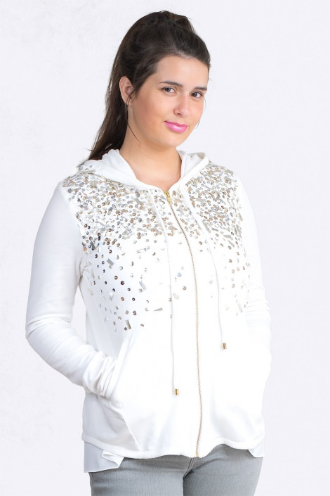More by Siste's Sequined Cotton Hoodie in White