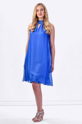 COCONUDA Bright and Weightless Silk Summer Dress in Blue
