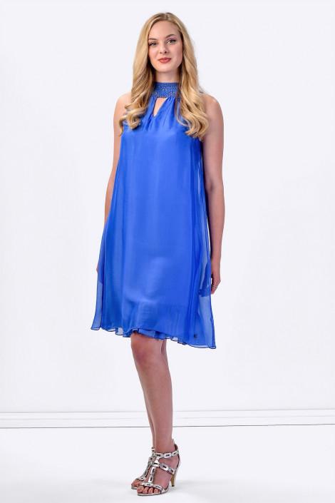 COCONUDA Bright and Weightless Silk Summer Dress in Blue