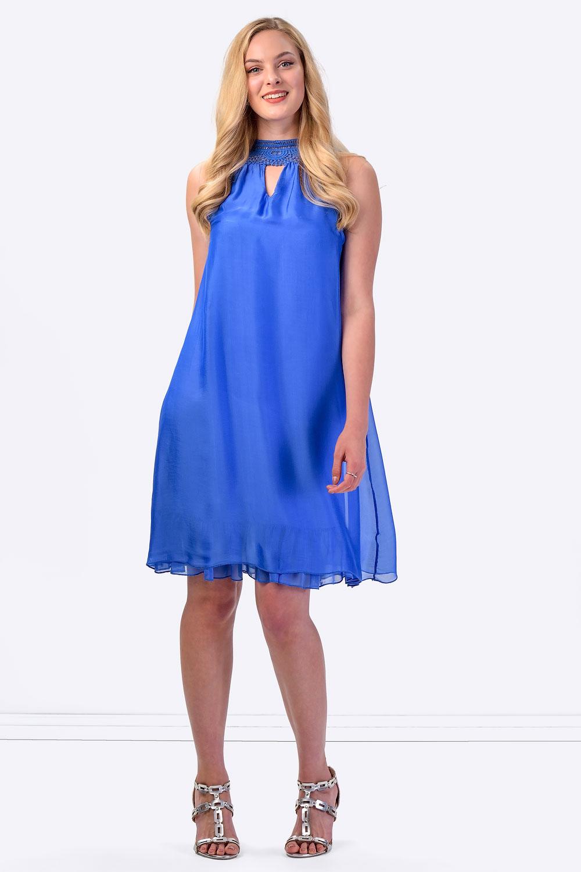 COCONUDA Bright &amp- Weightless Silk Summer Dress in Blue - CLADDIO