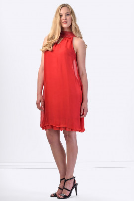 COCONUDA Bright & Weightless Silk Summer Dress in Red