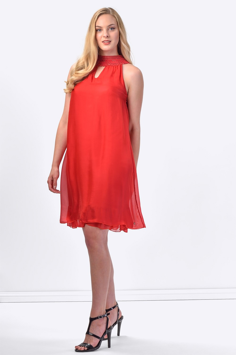 COCONUDA Bright & Weightless Silk Summer Dress in Red ...