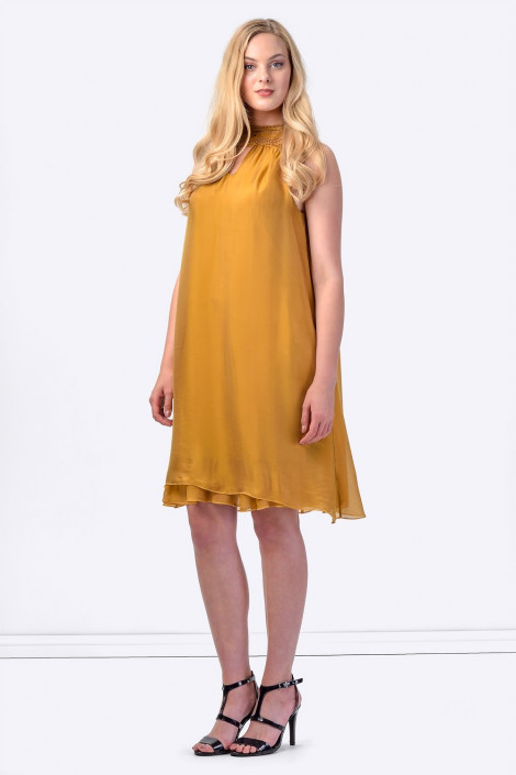 COCONUDA Bright & Weightless Silk Summer Dress in Brown