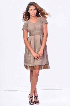 SISTE'S Brown Midi Dress with Lace Bottom