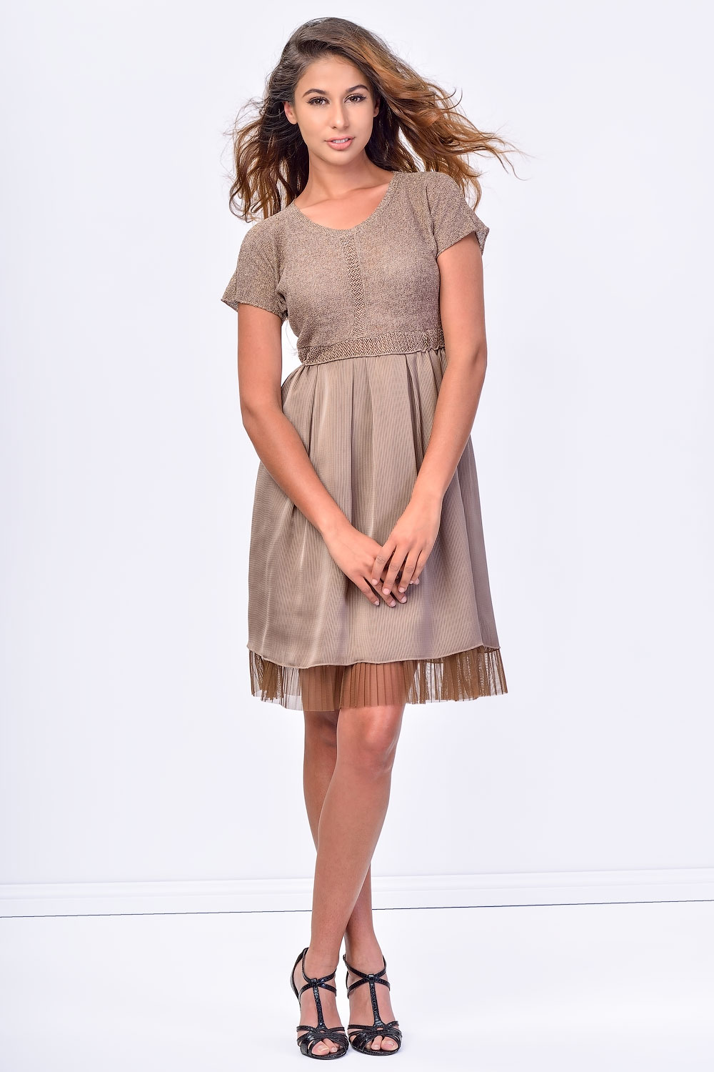 93cb866a371c SISTE S Brown Midi Dress with Lace Bottom. Tap to expand