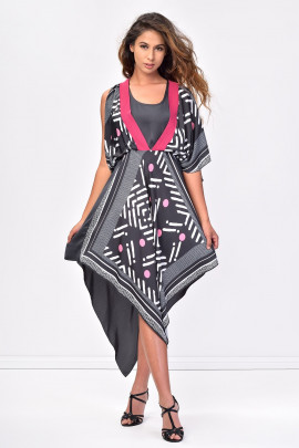 SISTE'S Handkerchief Hem Black Summer Dress