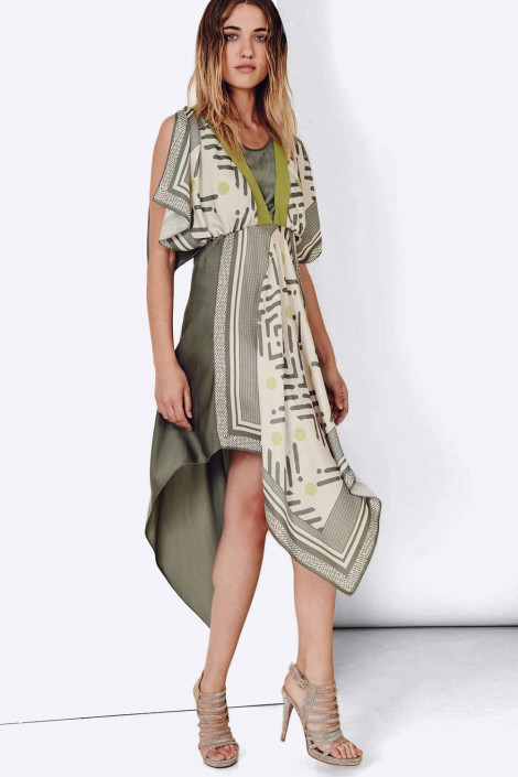 SISTE'S Handkerchief Hem Dress in Malachite Colour