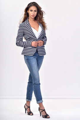 SISTE'S Blue and White Striped Jacket