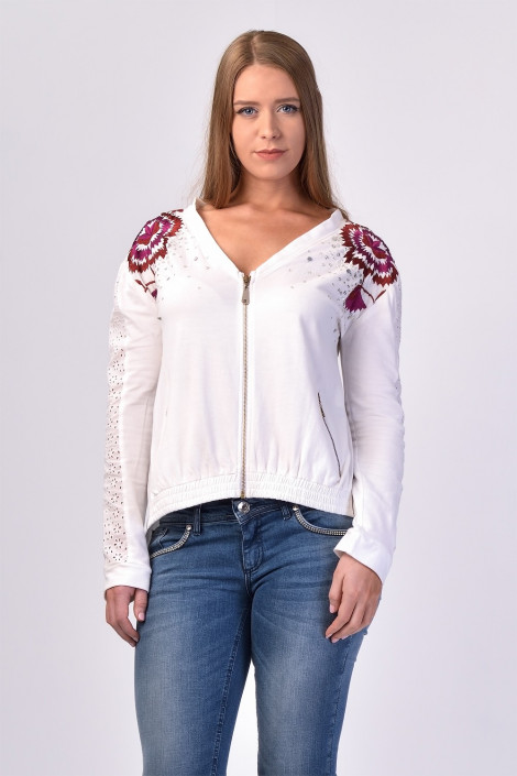 Chic Embroidery Cotton Sequinned Sweatshirt