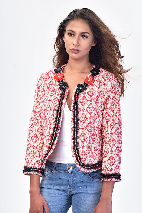 Chanel Inspired Red on White Jacquard Jacket by TENAX