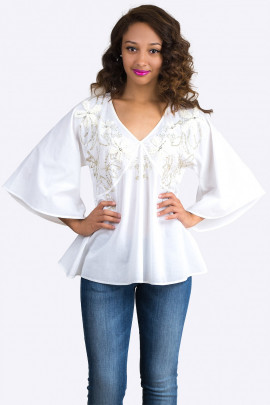 Roxolana Embroidered Cotton Blouse