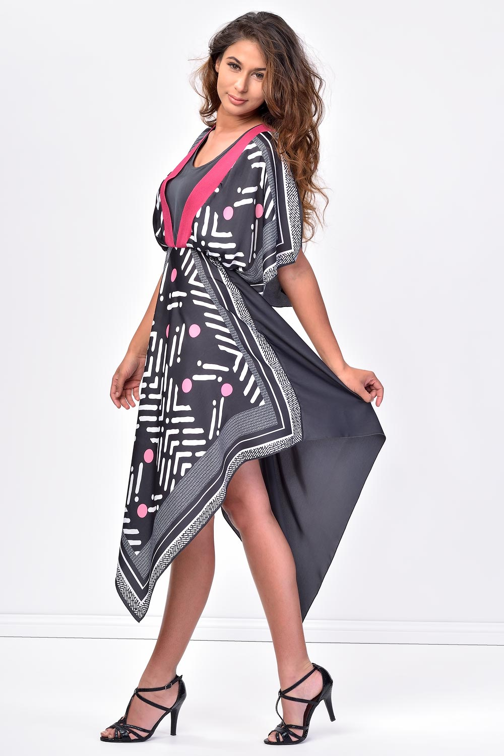 Siste S Handkerchief Hem Black Summer Dress Claddio