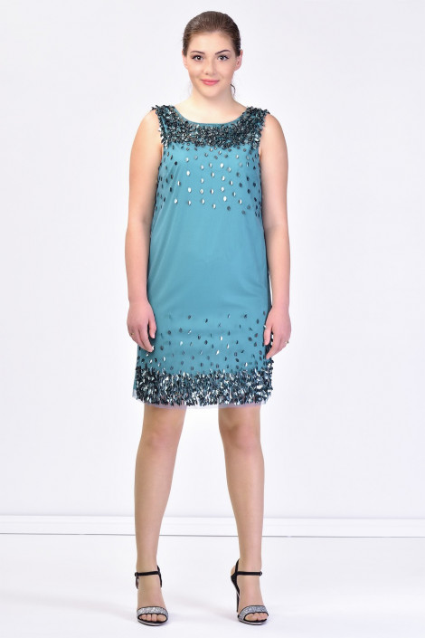 Shining Little Leaves Sequined Dress In Green