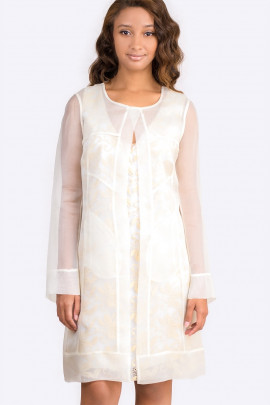 Diana Chic Long Silk Coat in Pearl White