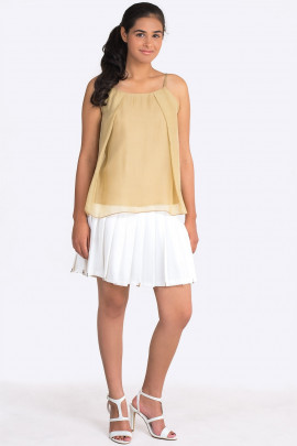 Elegant Silk Top with Spaghetti Straps in Gold