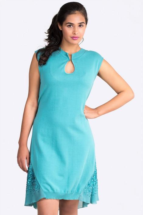 Exquisite Designer Cotton Sequin Dress in Turquoise