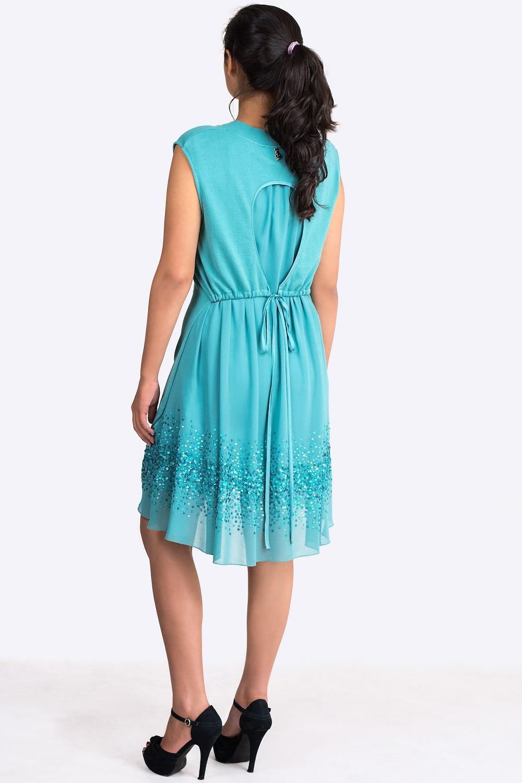 Exquisite Designer Cotton Sequin Dress In Turquoise Claddio