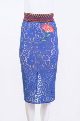 TENAX Blue Lace Skirt with Back Zipper