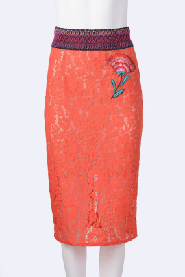TENAX Red Lace Skirt with Back Zipper