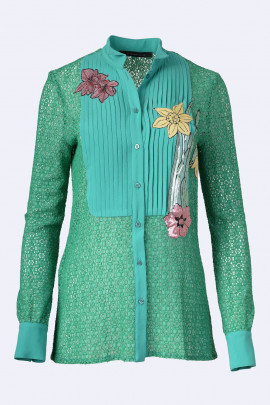 TENAX Lace Shirt with Flower Embroidery