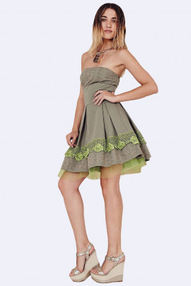 SISTE'S Naughty Girl Green Cotton Summer Dress