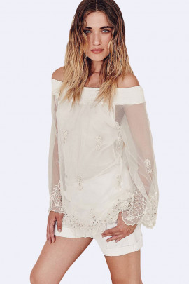SISTE'S White Embroidered Off Shoulder Lace Blouse
