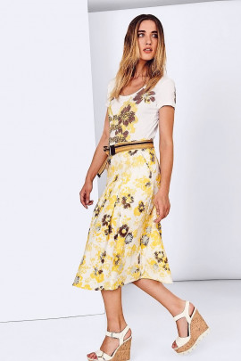 SISTE'S Summer Flowers Embroidered Cotton Skirt
