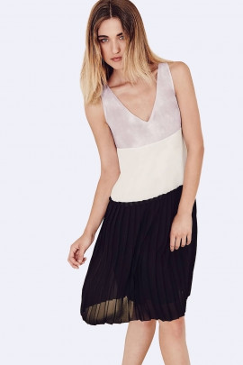 SISTE'S Romantic Style at Work Pleated Summer Dress