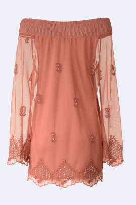 SISTE'S Bronze Embroidered Off Shoulder Lace Blouse