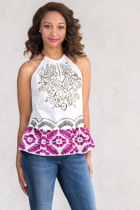 Designer's Embroidery Cotton Top With Spagetti Straps