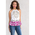 Chic Embroidery Cotton Top With Spaghetti Straps