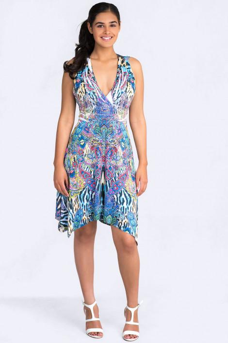 Fit & Flare Ornamental Print Dress