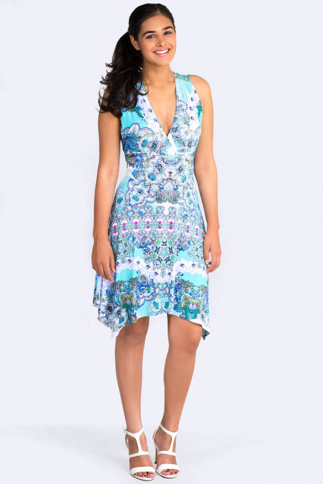 Fit & Flare Sleeveless Print Dress In Bright Blue