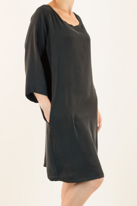 Siste's Cupro Tunic Dress with Assymetric Pocket in Black