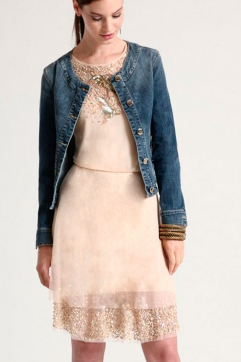 New Pearl In Town Sequined Lace Dress In Beige