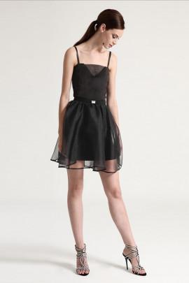Diana Chic Slip Dress with Silk Skirt in Black